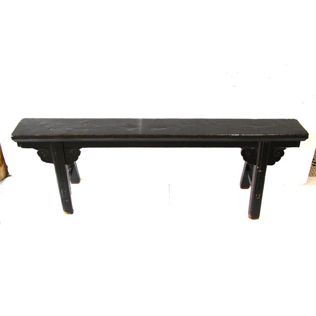 Hand Carved Chinese-Style Black Altar Bench - Image 4 of 8