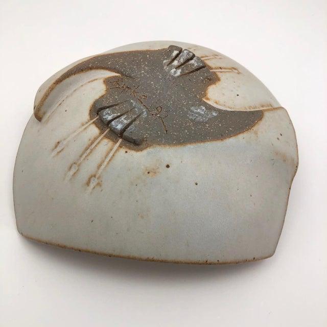 Cream Glazed Hand-Formed Slab Pottery Bowl Signed Burke For Sale - Image 10 of 13