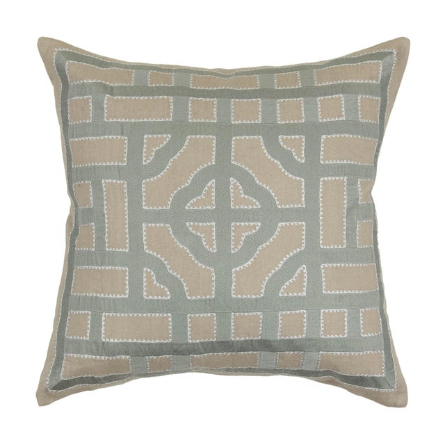 Contemporary Contemporary Tr Essentials Embroidered Geometric Linen Pillow - 22x22 For Sale - Image 3 of 3