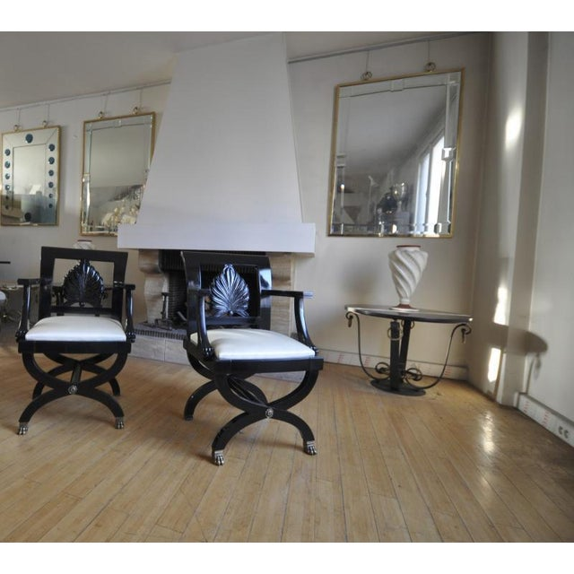 Art Deco Maison Jansen Chicest Black Neoclassic Exceptional Pair of Armchairs For Sale - Image 3 of 8