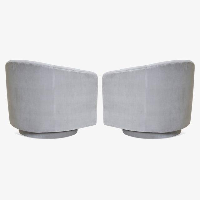 Mid-Century Modern Swivel Tub Chairs in Dove Velvet, Pair For Sale - Image 3 of 8