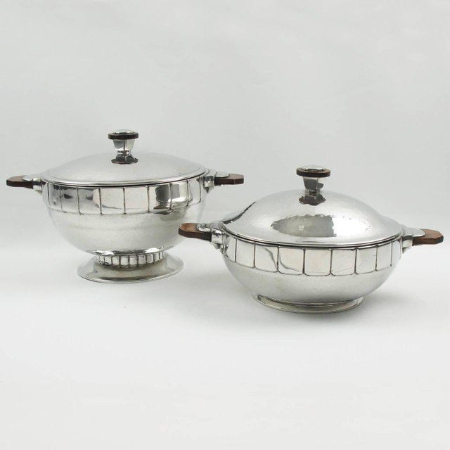 Modernist Polished Pewter Tureen, Covered Dish Centerpiece by h.j. Geneve For Sale In Atlanta - Image 6 of 7