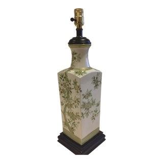 Jade & Gold Chinoiserie Vase Porcelain Lamp For Sale