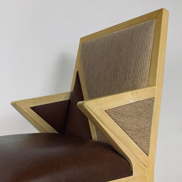 Custom Postmodern Memphis Style Blonde Wood Dining or Occasional Chairs - Set of 10 For Sale - Image 10 of 12