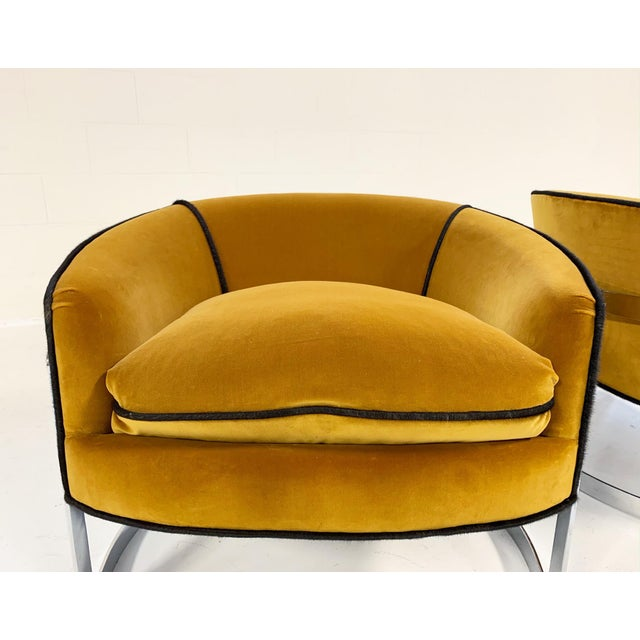 Animal Skin Mid Century Vintage Milo Baughman Velvet With Brazilian Cowhide Welting Lounge Chairs - a Pair For Sale - Image 7 of 13