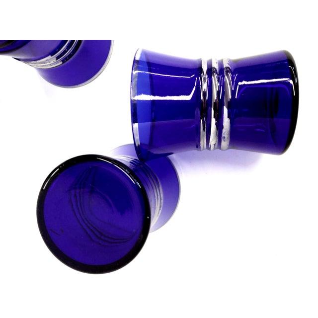Cobalt Blue Shot/Juice Glasses W Silver Trim - S/6 - Image 5 of 9
