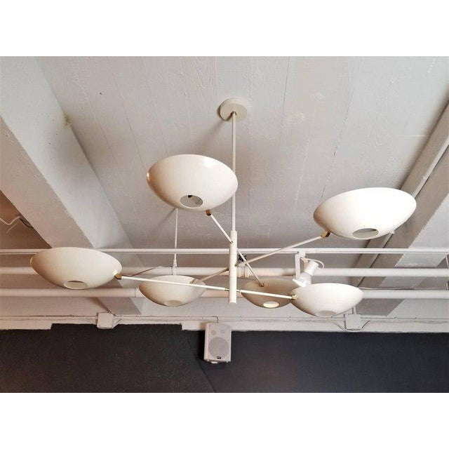 Large 'Counterbalance' Chandelier in White Enamel + Brass by Blueprint Lighting For Sale - Image 9 of 11