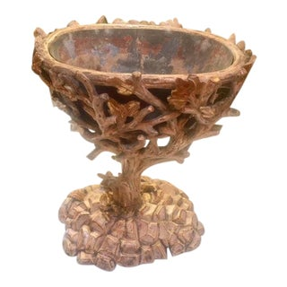 19th Century Carved Wood Leaf and Branch Planter For Sale