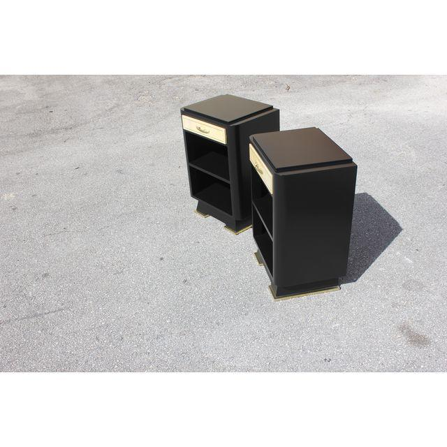Classic Pair Of French Art Deco Parchment/ Ebonized Side Table / Nightstands, Circa 1940's - Image 4 of 11