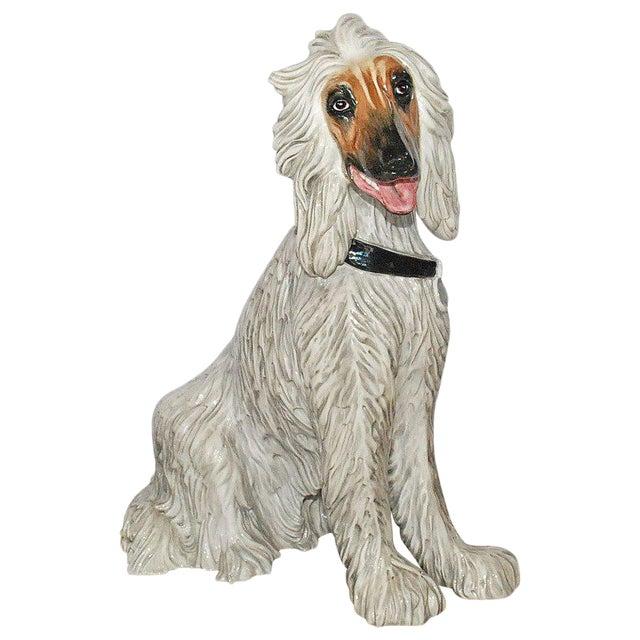 Vintage Italian Ceramic Dog Sculpture For Sale