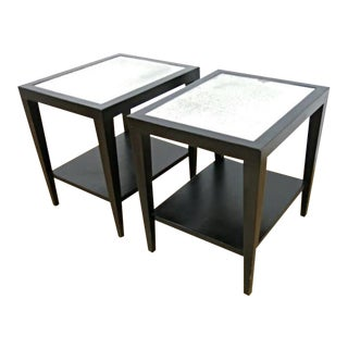 Black Painted Mirror Top Side Tables - A Pair