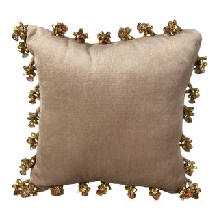 French Velvet Pillow With Bows and Crystal For Sale