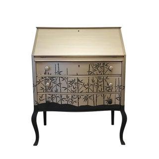 Asian Modern Pearlescent Silver and Black Secretary Desk