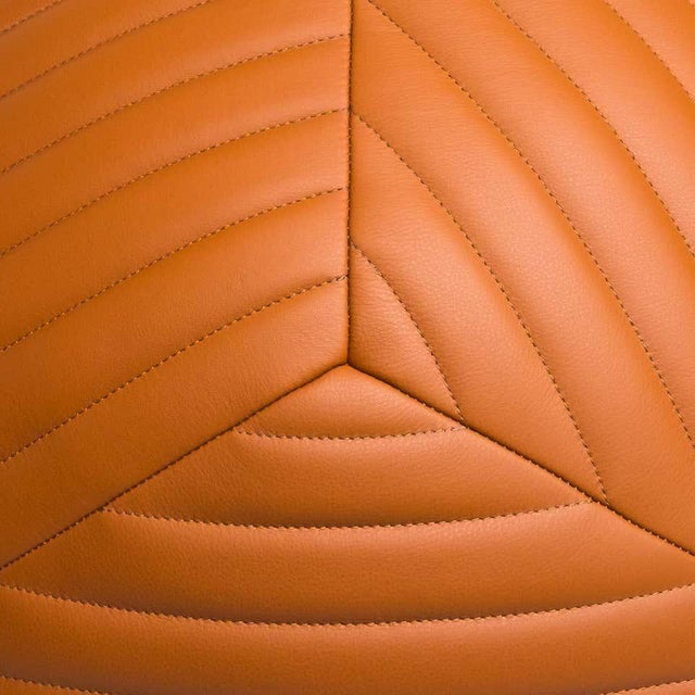 Modern Banded Ottoman in Saddle Brown Leather by Moses Nadel For Sale - Image 3 of 8