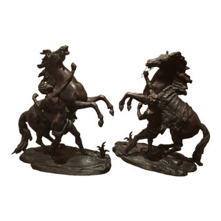 Antique Patinated Bronze Models of the Marly Horses - a Pair For Sale