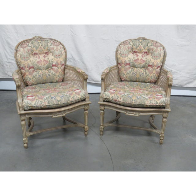 White Louis XVI Style Bergeres - a Pair For Sale - Image 8 of 8