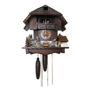 Late 20th Century Large Hand Crafted German Black Forest 8 Days Cuckoo Clock Switzerland Musical Movement For Sale