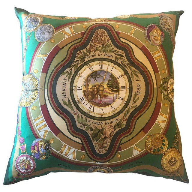 Enormous Hollywood Regency Style Hermes 'Parmi Les Fleurs' Silk Stuffed Pillow For Sale - Image 11 of 11