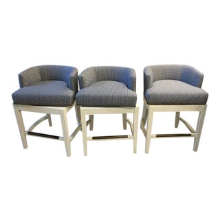White Frame, Blue & White Swivel Counter Stools - Set of 3 For Sale