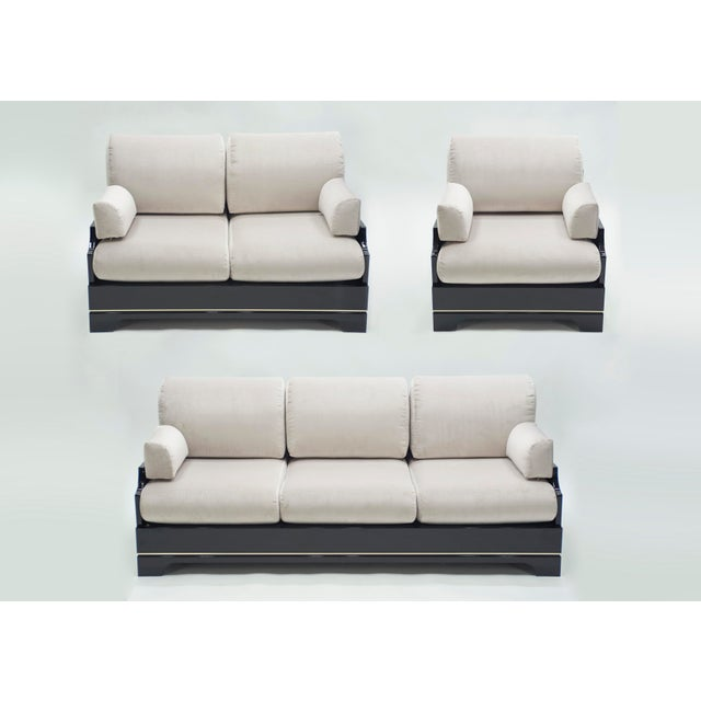 This three elements living room set from the mid-century modern Italian Riviera period designed by Romeo Rega is bursting...