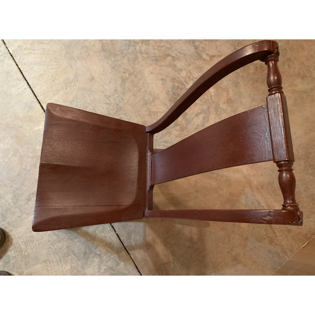 American Antique Carved Scrolled Splat Back Solid Wood Brown Painted Children's Rocking Chair For Sale - Image 3 of 13