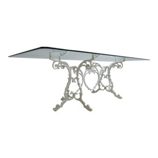 Vintage Aluminium French Regency Patio Porch Banquet Conference Dining Table