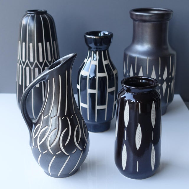 1950s Vintage Piesche and Reif Sgraffito East German Wide Mouth Vase For Sale In New York - Image 6 of 7