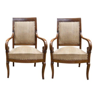 19th Century French Empire Style Walnut Armchairs - a Pair