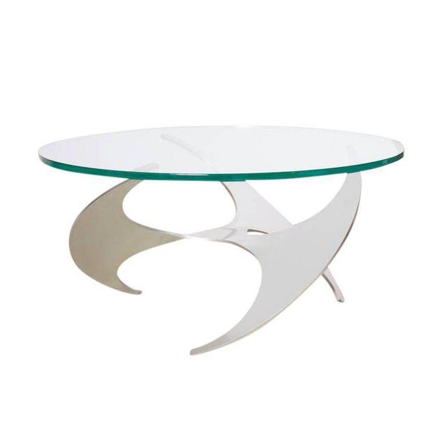 Aluminum Aluminum and Glass Propeller Coffee Table by Knut Hesterberg for Ronald Schmitt For Sale - Image 7 of 7