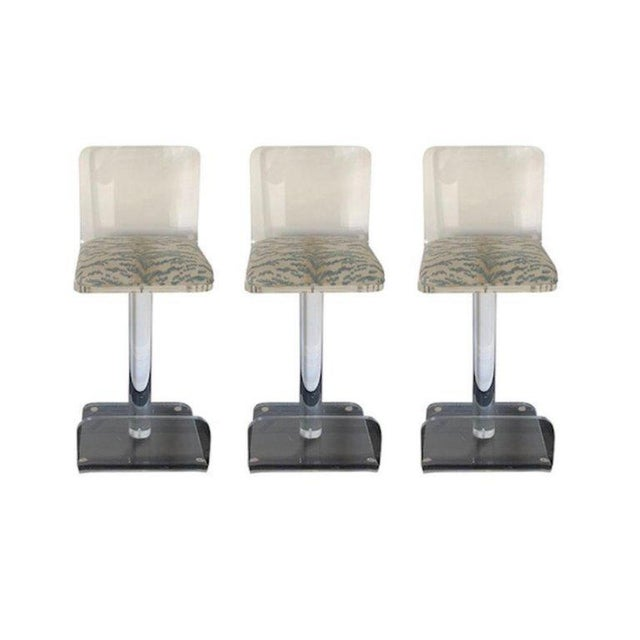 Set of Three Vintage Lucite Bar Stools, Newly Upholstered Seat For Sale - Image 12 of 13