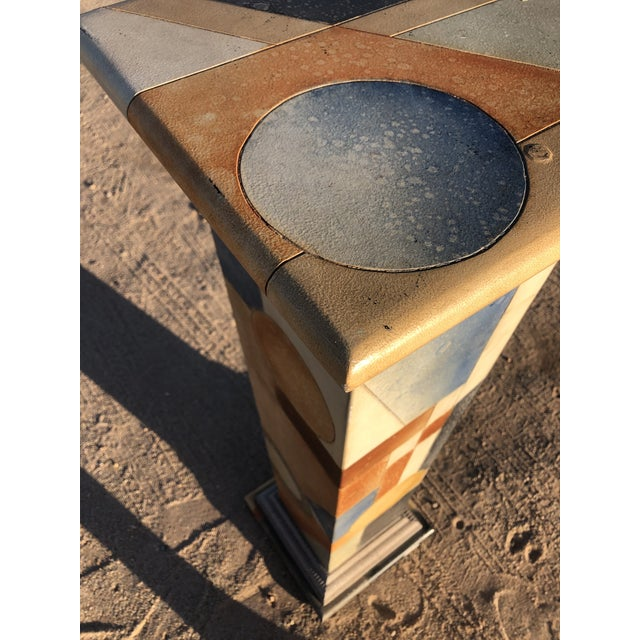 1980s Vintage Abstract Wood Pedestal For Sale - Image 4 of 11