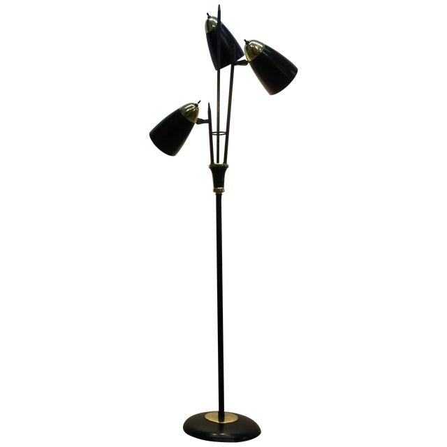 Mid-Century Black & Brass Adjustable Floor Lamp - Image 1 of 5