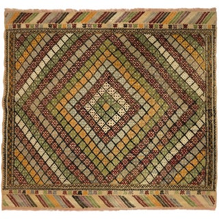 Hand-Embroidered Turkish Picnic Kilim in Red, Yellow and Gold | 3'8 X 4'2 For Sale
