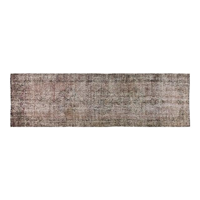 "Vintage Turkish Anatolian Whitewash Hand Knotted Organic Wool Fine Weave Rug,3'1x11'3"" For Sale"