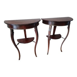 Pair of Half Moon Wall Tables For Sale