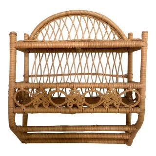 20th Century Boho Chic Wrapped Woven Natural Wicker Rattan Bathroom Shelf For Sale