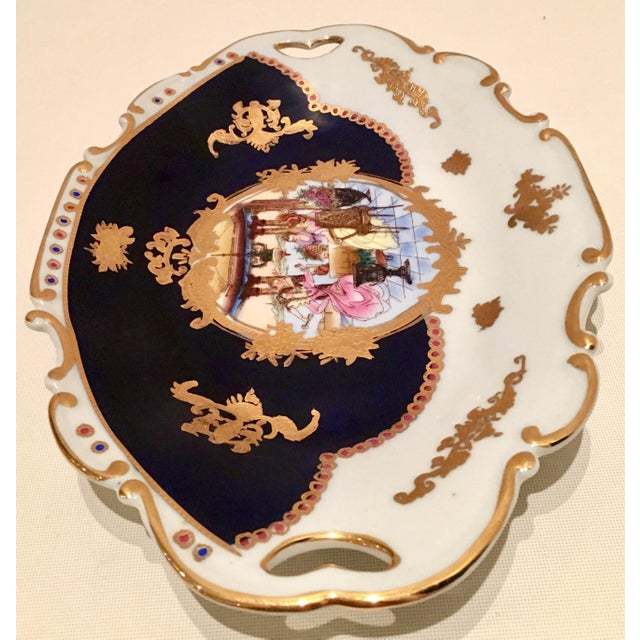 20th C. French Sevres Limoges Style Cobalt & Gold Tray & Box - Image 8 of 11