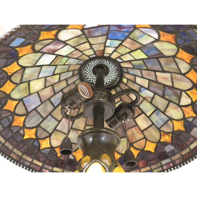 Bronze Quoizel Arts & Crafts Stained Glass Lamp For Sale - Image 8 of 9