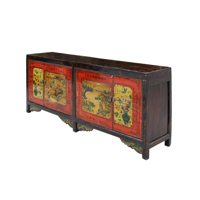 Asian Chinese Distressed Brown Red Doors Long Sideboard Console Table Cabinet For Sale - Image 3 of 9