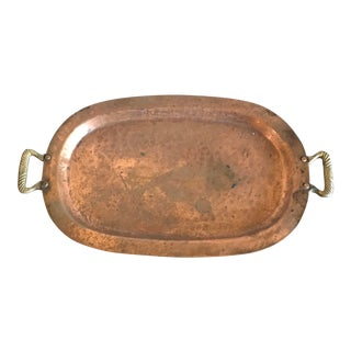 Art Deco Vintage Copper Serving Tray with Handles For Sale