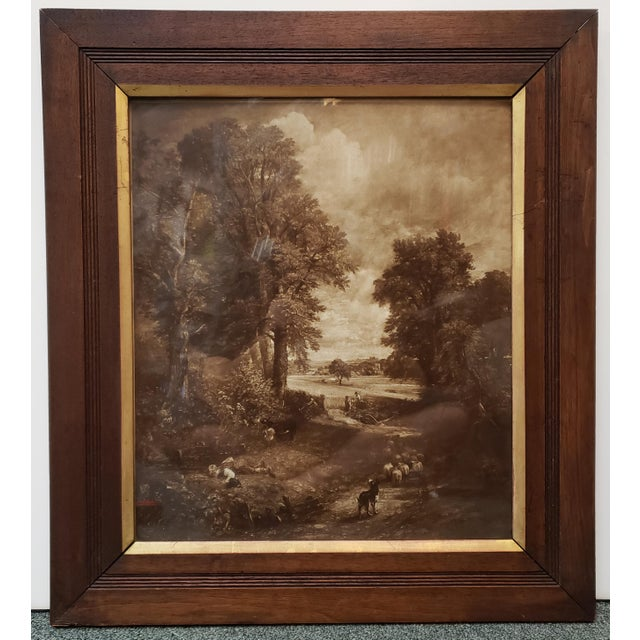 "Circa 1890 Victorian ""The Cornfield"" by John Constable Print by the Autotype Company Set in a Gilt Mahogany Frame (London) For Sale - Image 4 of 4"