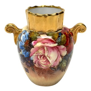 1930s Gilt Floral Aynsley Vase Signed J a Bailey For Sale