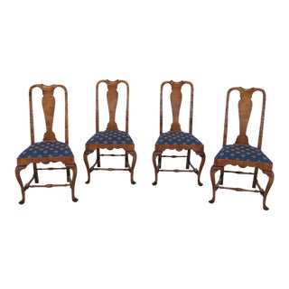 DR Dimes Tiger Maple Queen Anne Dining Chairs - Set of 4 For Sale