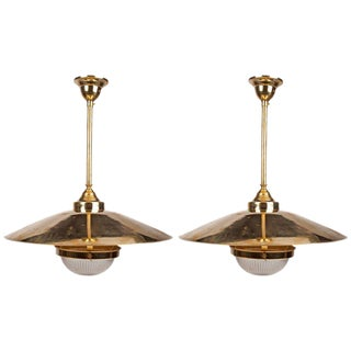 1980s Vintage Brass Fresnel Glass Shaded Pendant Lights - A Pair For Sale
