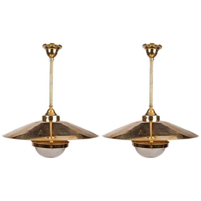 World class pair of brass pendant lights with fresnel glass shade pair of brass pendant lights with fresnel glass shade midcentury image 1 of 6 aloadofball Image collections
