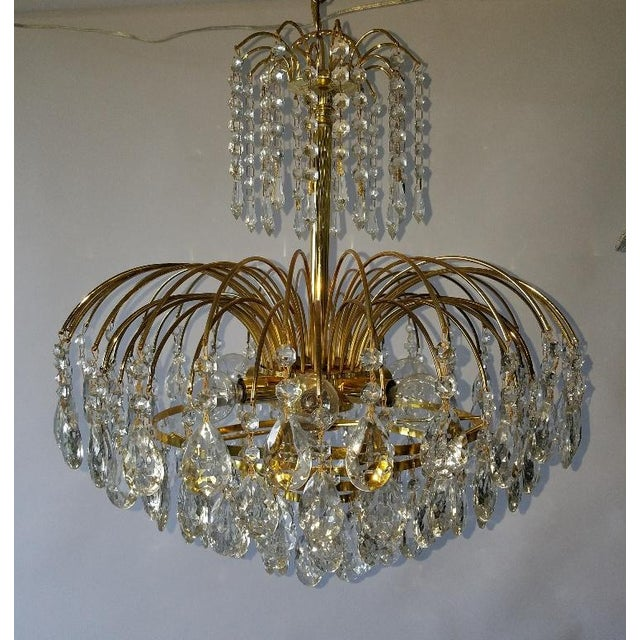 Mid-Century Crystal & Brass Plated Spider Chandelier - Image 9 of 11