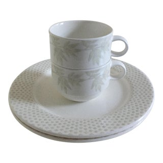 Villeroy & Boch Janda White Premium Porcelain Round Cups & Saucers - Set of 4