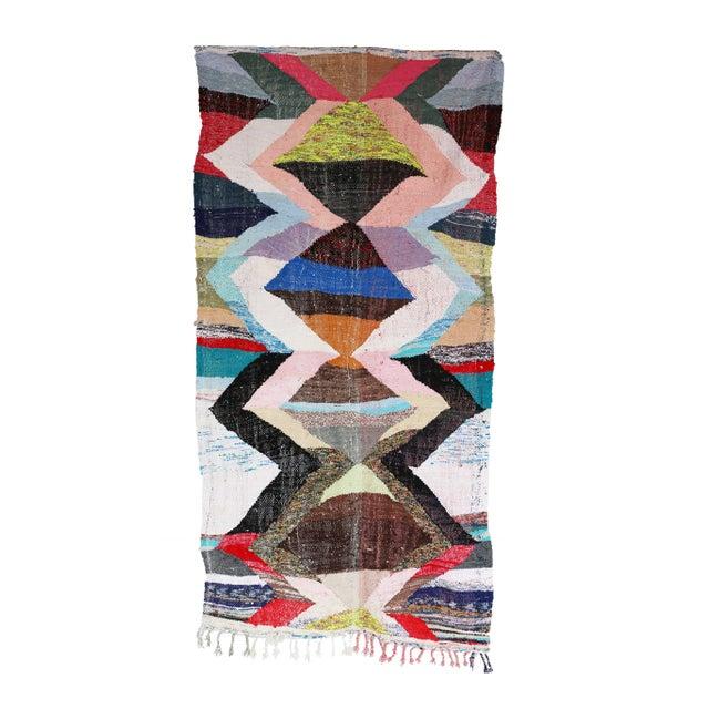 "Vintage Moroccan Kilim Boucherouite Rug - 4'4"" x 9'4"" - Image 1 of 2"