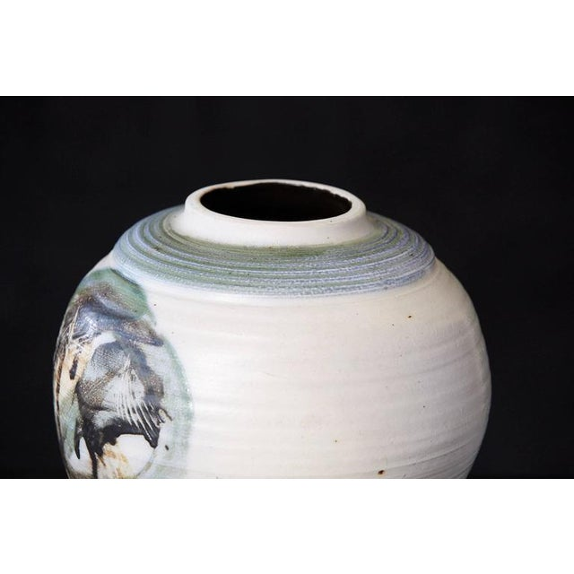 Chris Staley, Large Pot with Hand-Painted Abstract Elements, Signed For Sale In New York - Image 6 of 10