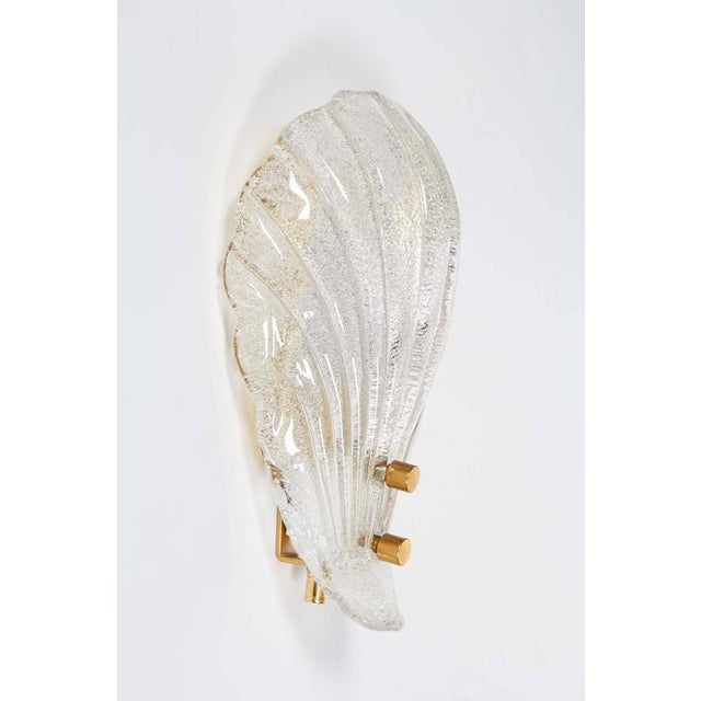 Barovier & Toso Pair of Murano Shell Glass Sconces by Barovier & Toso For Sale - Image 4 of 11
